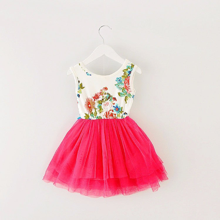 Spring/Summer Baby Girls Sleeveless Tutu Dress with Floral and Bow Top and Soft Tulle Bottom (1pc) 1-4T - FOR MY LITTLE ANGELS