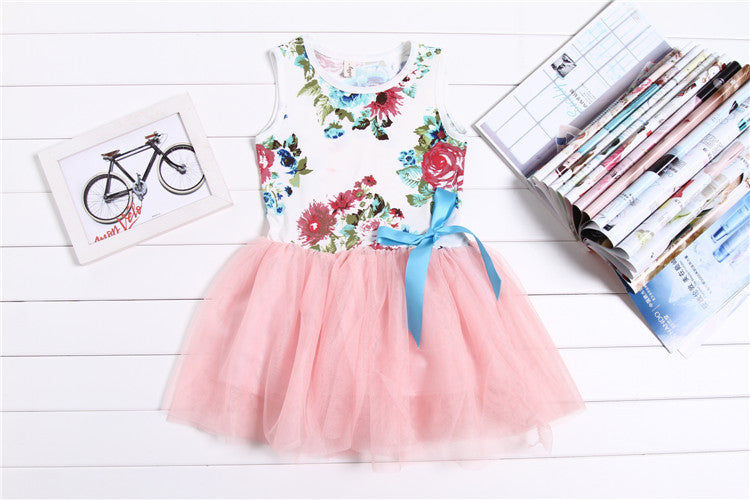 Sleeveless Princess Girls Dress with Floral Bow Top and Tulle Bottom (1pc) for 2-5T - More Colors Available - FOR MY LITTLE ANGELS