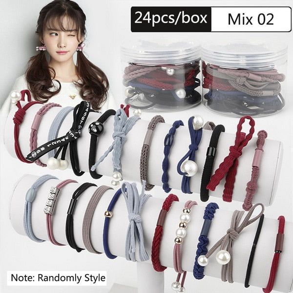 24 pieces/box Korean Style Pearl Rubber Band Elastic Hair Ties Ribbons Bowknot - FOR MY LITTLE ANGELS