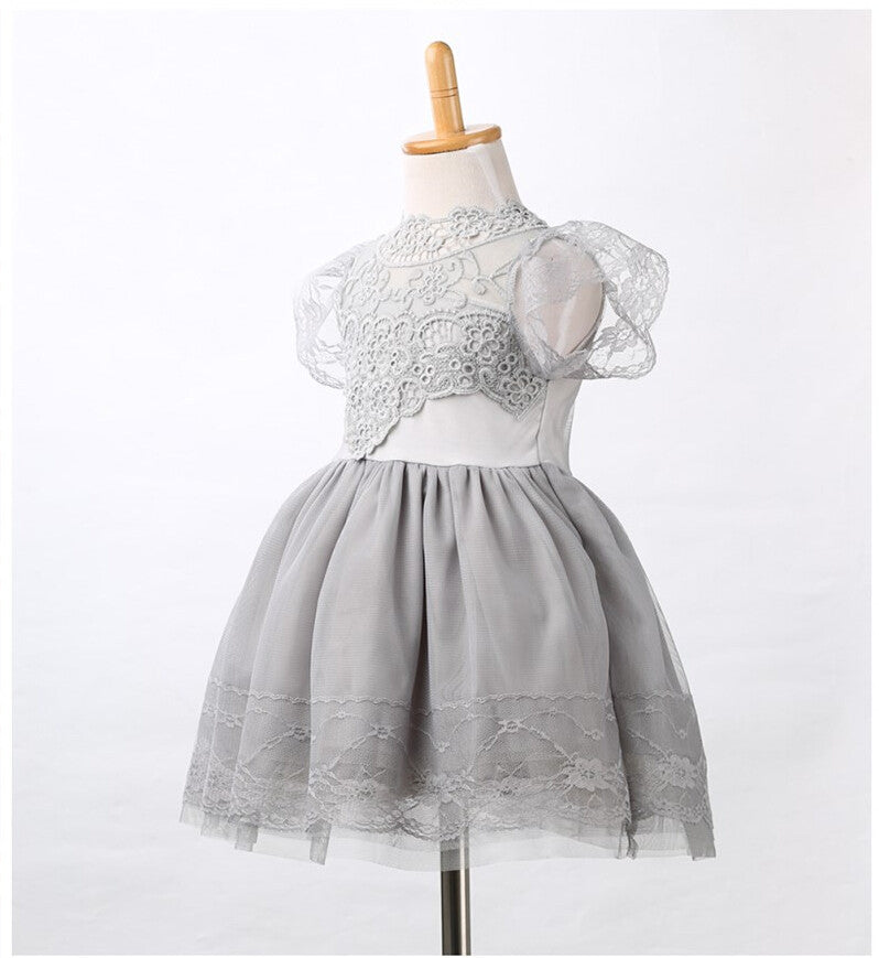 Spring/Summer Baby Girls Short Sleeve Dress with Flower Lace and Tulle 1-5T - FOR MY LITTLE ANGELS