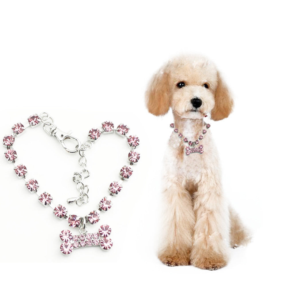 Stainless Steel Rhinestone Necklace for Pets with Crystal Bone Pendant - FOR MY LITTLE ANGELS