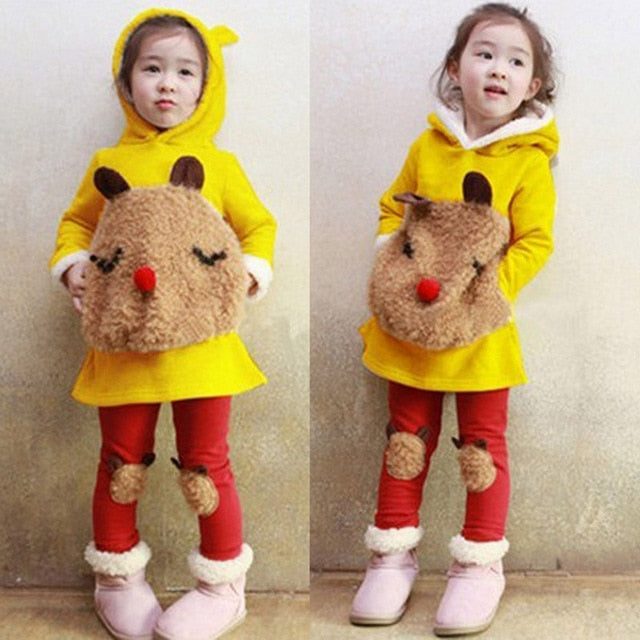 2Pcs Girls Set: Cartoon Rudolf as Pocket Warm Hoodie Dress Sweater + Cute Rudolf Pants for Winter Christmas 3T-7 - FOR MY LITTLE ANGELS