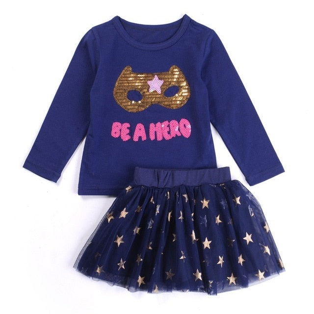 Autumn Cartoon Cat Long-Sleeve T-Shirt + Stripe Legging Or Tutu Skirt Clothing Set for Girls 2T-6 - FOR MY LITTLE ANGELS