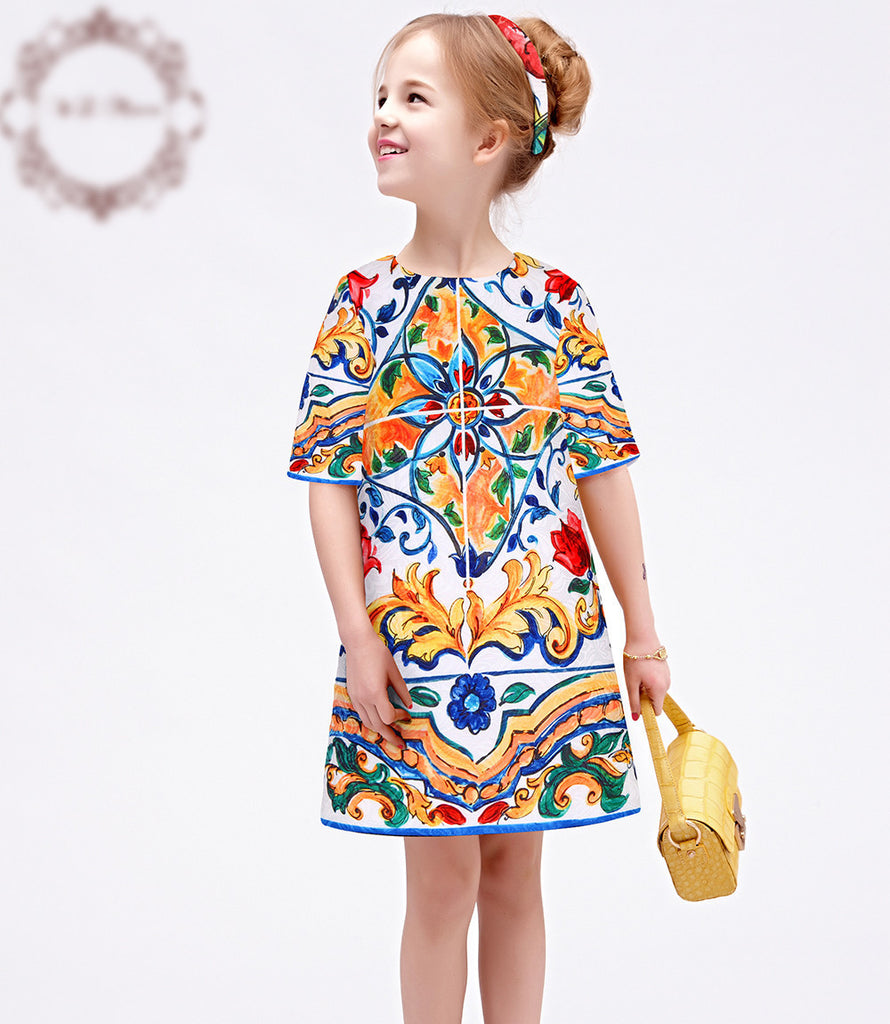 Floral Print Dress for Kids with Half Sleeve 3-10T - FOR MY LITTLE ANGELS