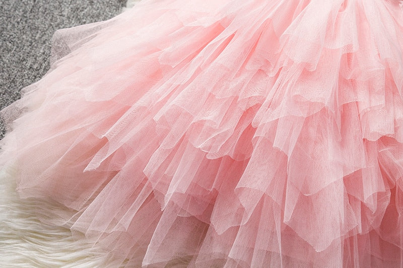 Formal Fluffy Lace Tutu Dress For Christmas Halloween Birthday Party Bridesmaid Dress Flower Girl Princess Costume Outfits 3T-8 - FOR MY LITTLE ANGELS