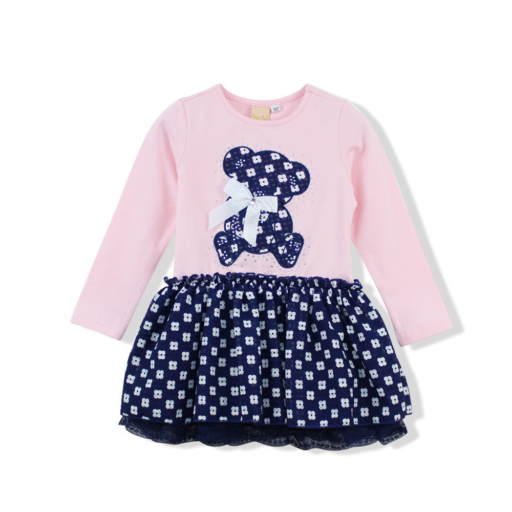 Dress for Girls with Bear Printed Top and Patterned Bottom for 2-6T - FOR MY LITTLE ANGELS