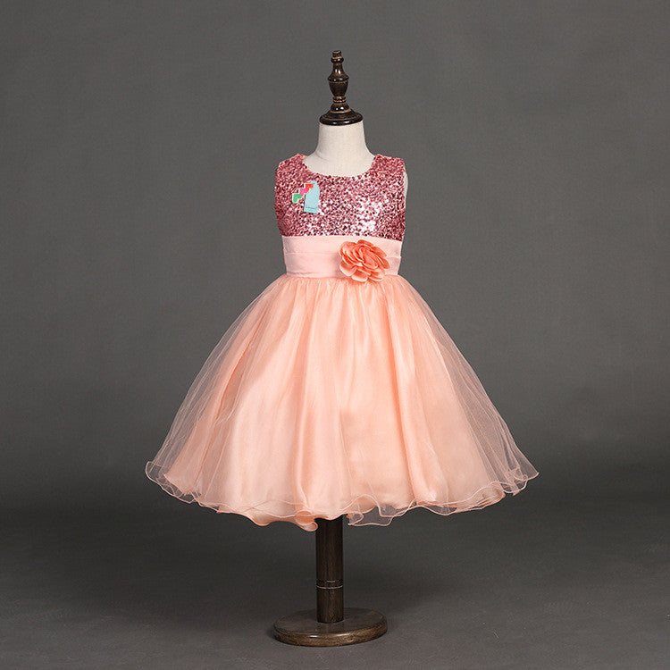 Sequin Flower Party Dress for Girls 4T-12 - More Options Available - FOR MY LITTLE ANGELS