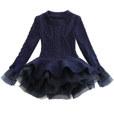 Winter Dress with Long-sleeved Sweater for Girls 3-7T - FOR MY LITTLE ANGELS