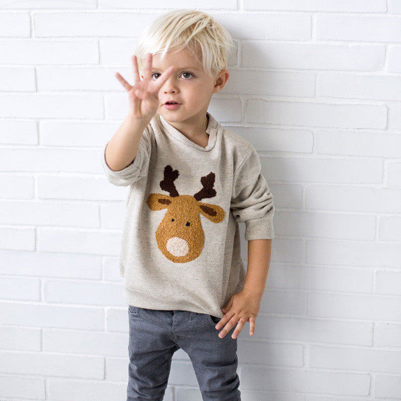 Reindeer Long-sleeved T-shirt for Boys 1-6T - FOR MY LITTLE ANGELS