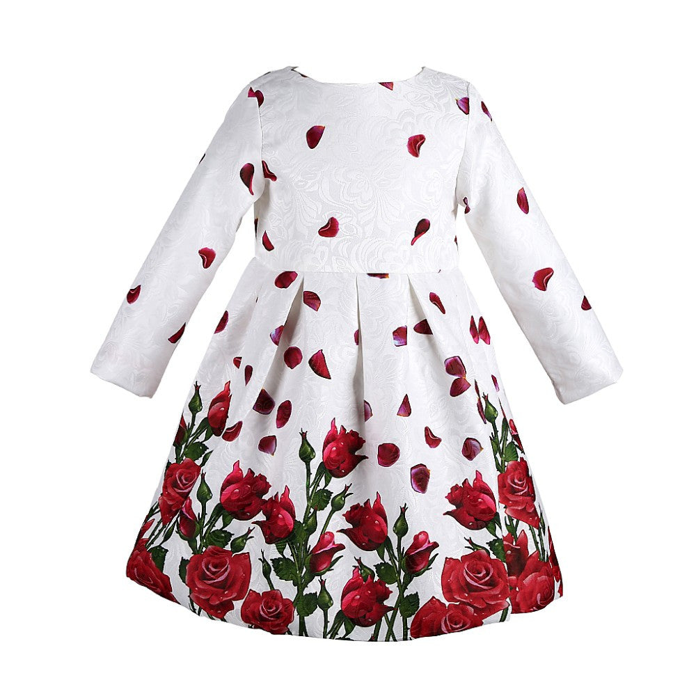 Long Sleeve Rose/Tulips Print Dress in Princess Style for 3-8T - FOR MY LITTLE ANGELS