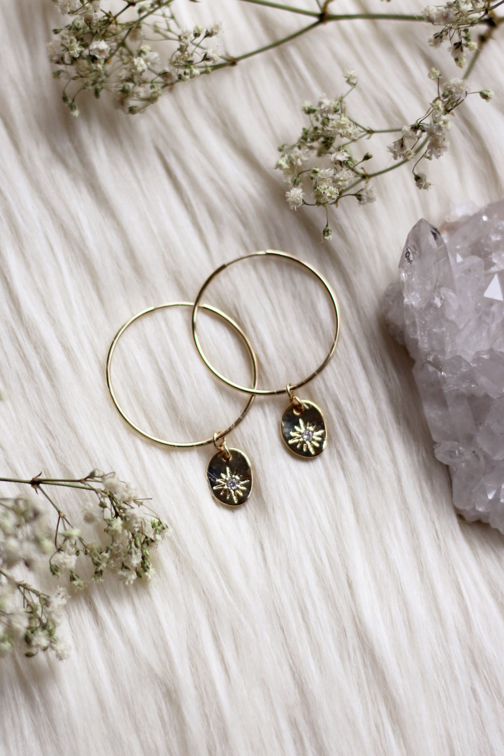 Diamond Eye ~ Gold Hoops