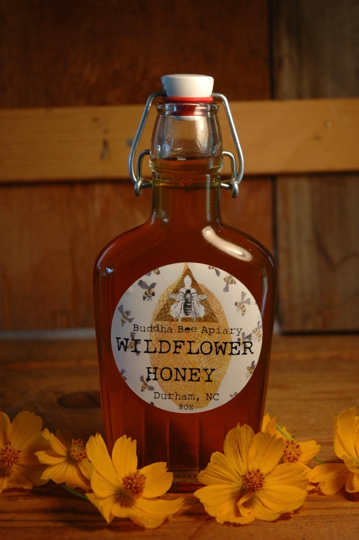 8 oz RAW Wildflower Honey