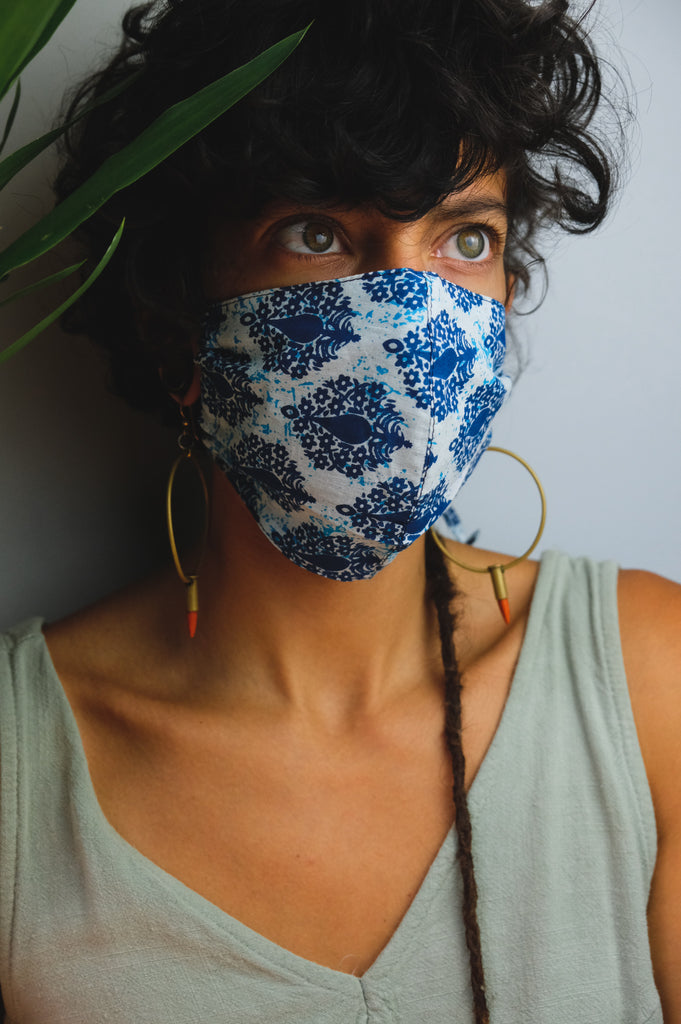 Light Blue Block Print Mask