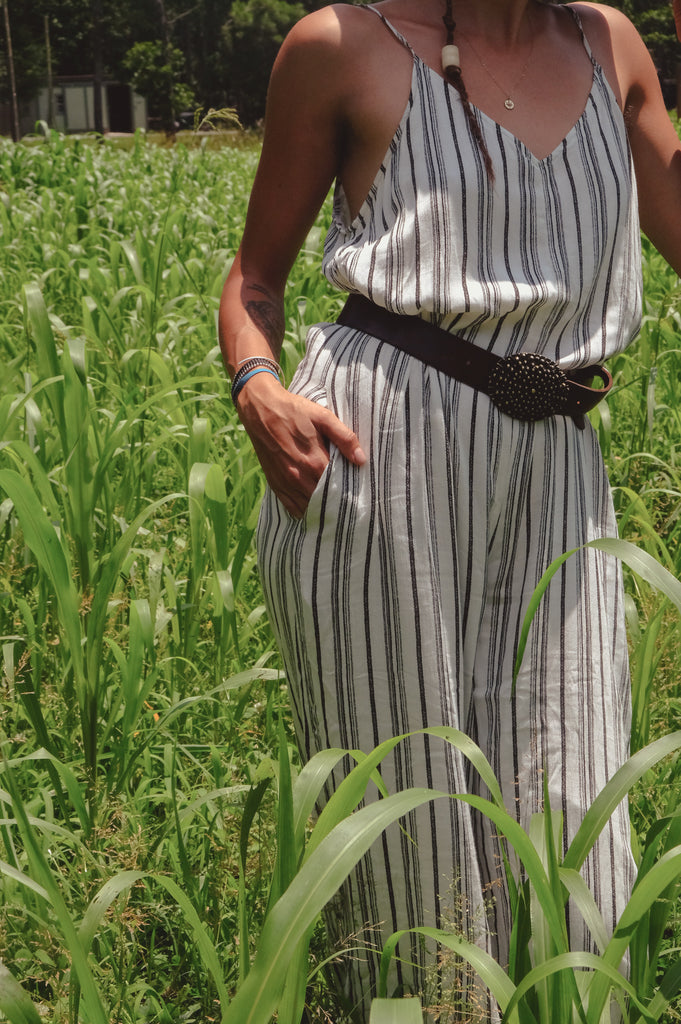 B & W Striped Jumpsuit