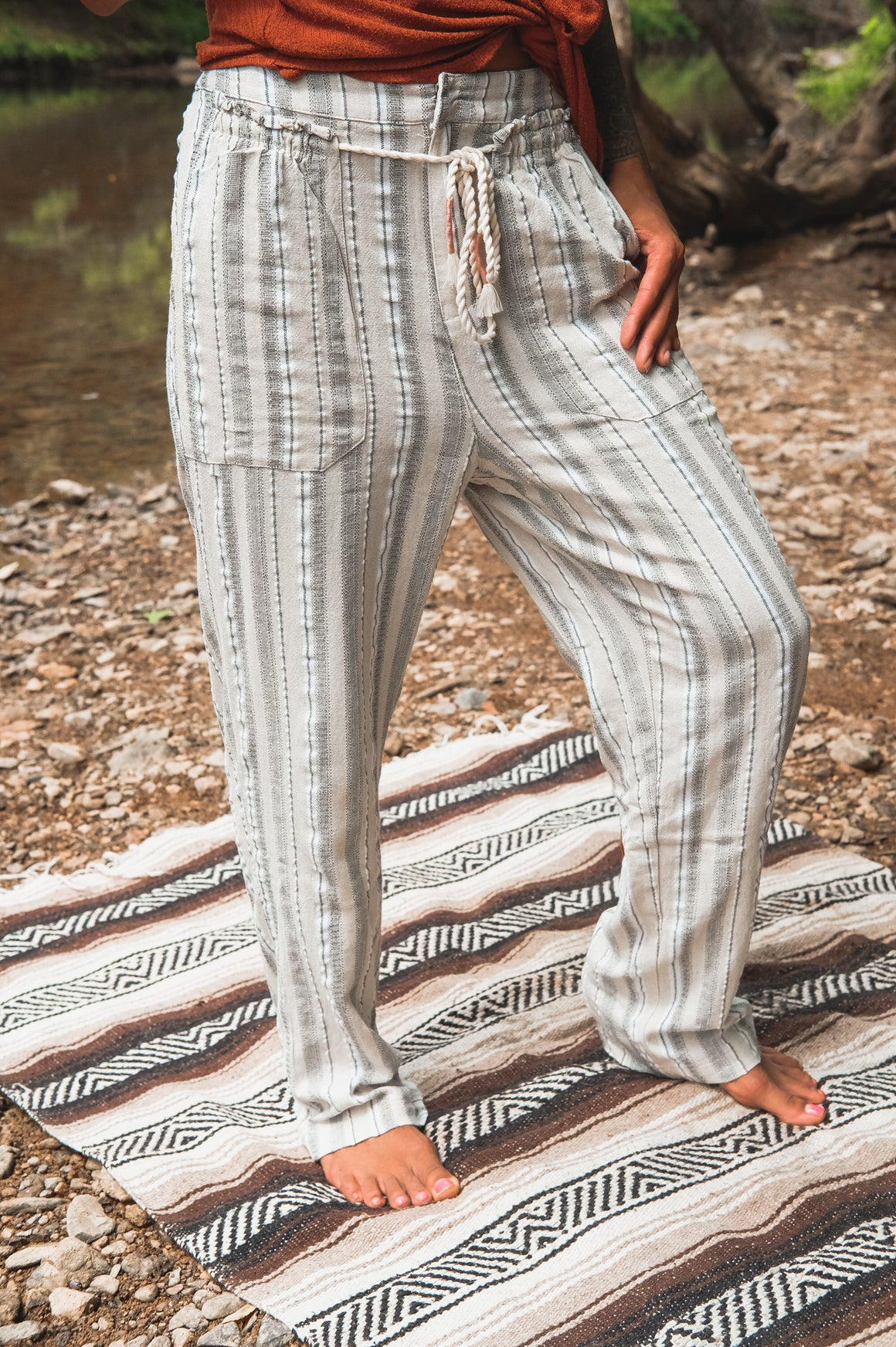 Rope Belt Striped Lightweight Linen Pants