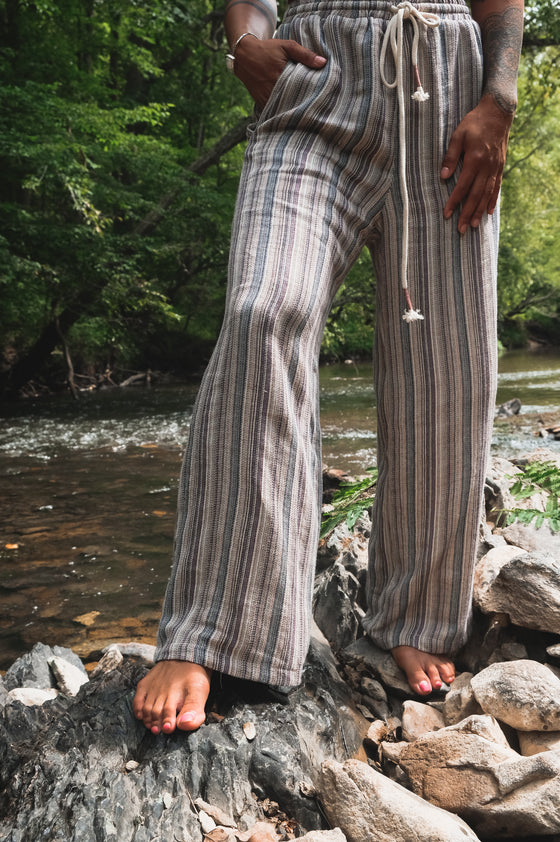 Yarn Dye Stripe Wide Leg Pants