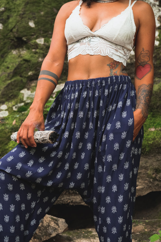 Navy with White Block Print Harem Pants