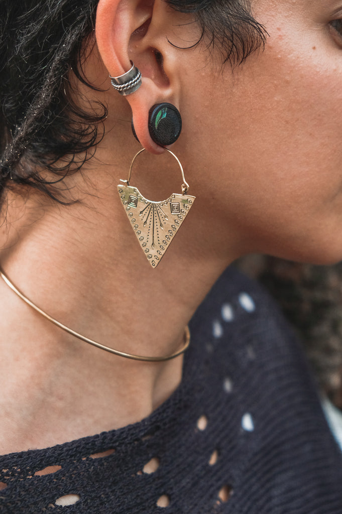 Stamped Triangle Earrings