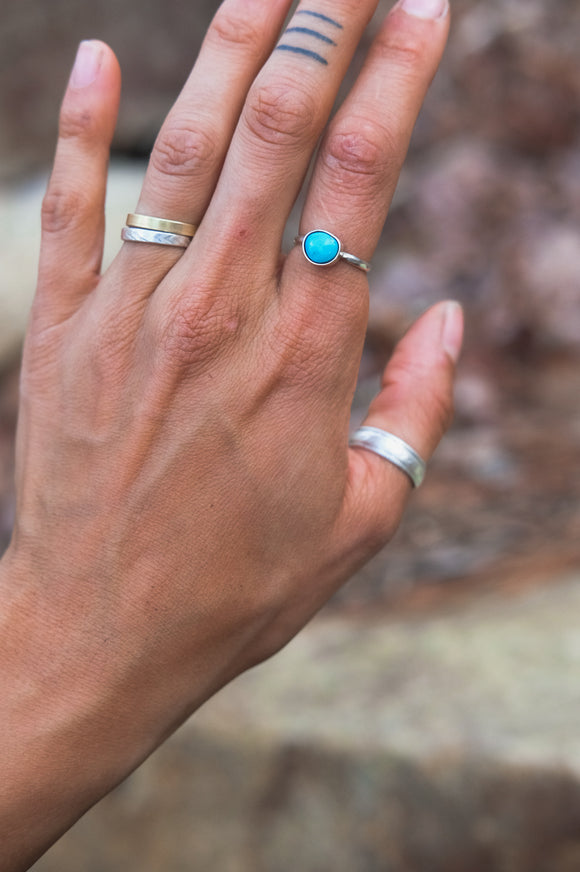 Thin Blue Ridge Turquoise Ring (6.25)