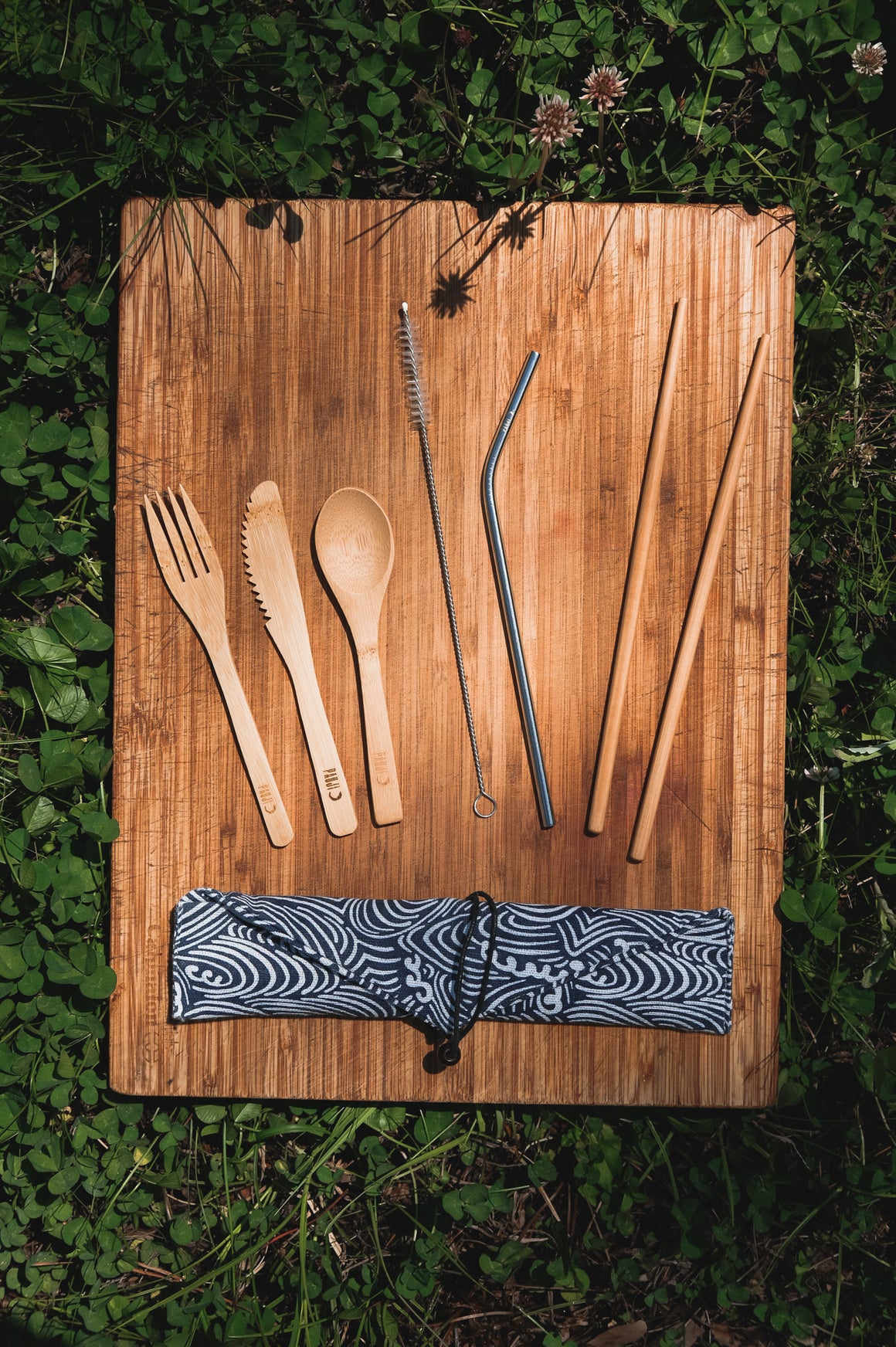 Bamboo Cutlery Set ~ Wave