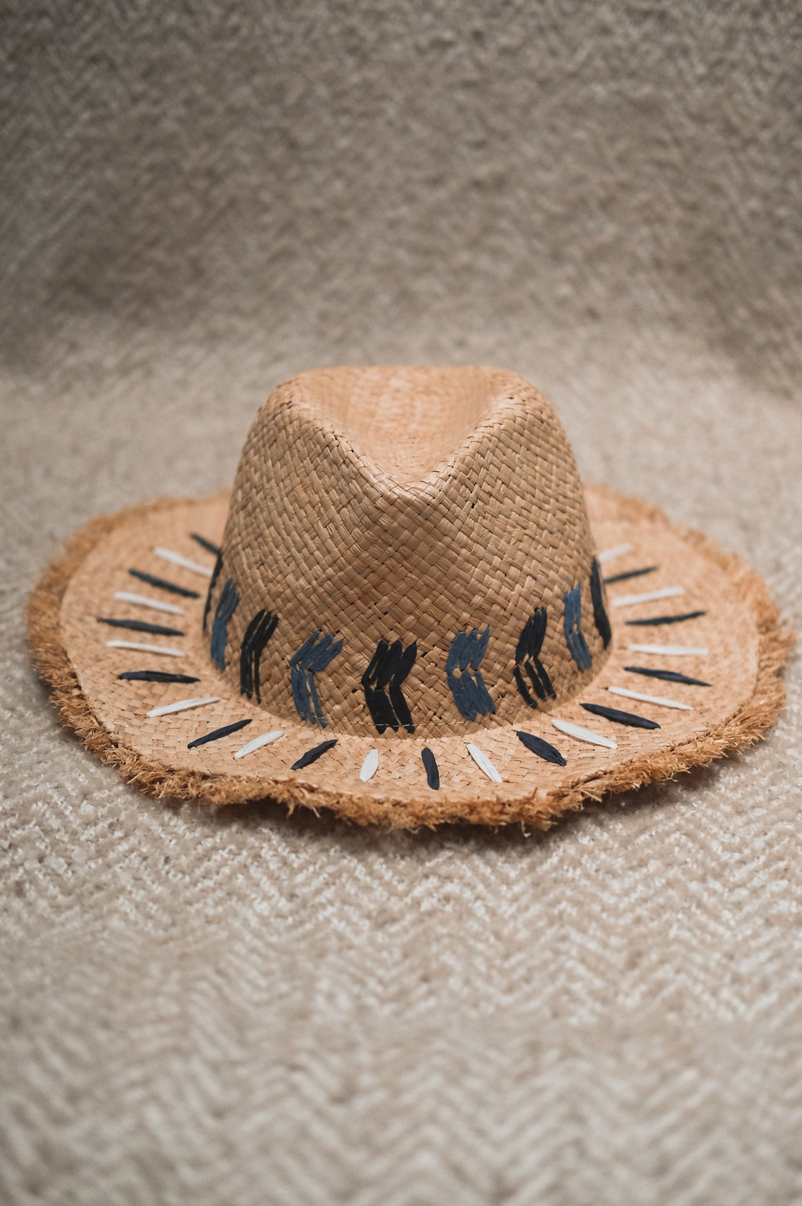 Nissi Beach Palm Embroidered Raw Edge Fedora