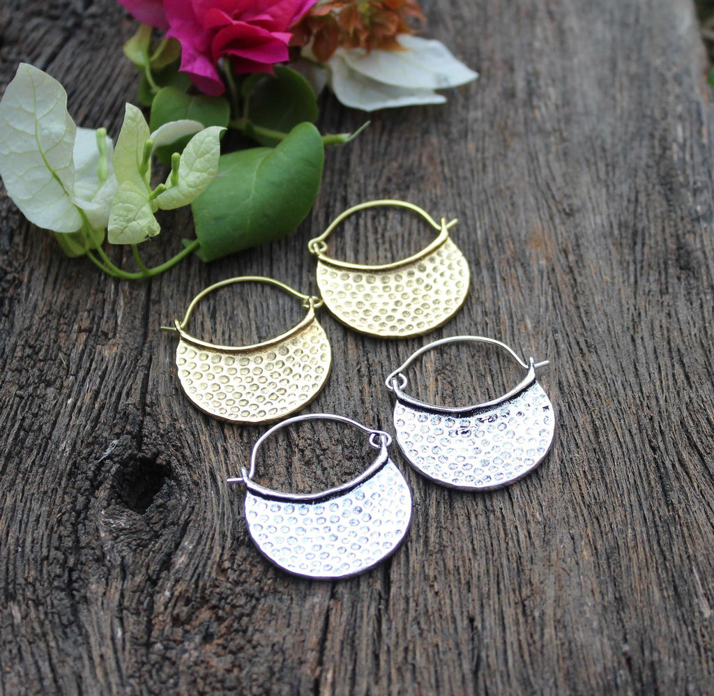 Hammered Moon Earrings