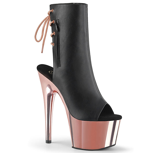 ADORE-1018 Black Faux Leather/Rose Gold Chrome