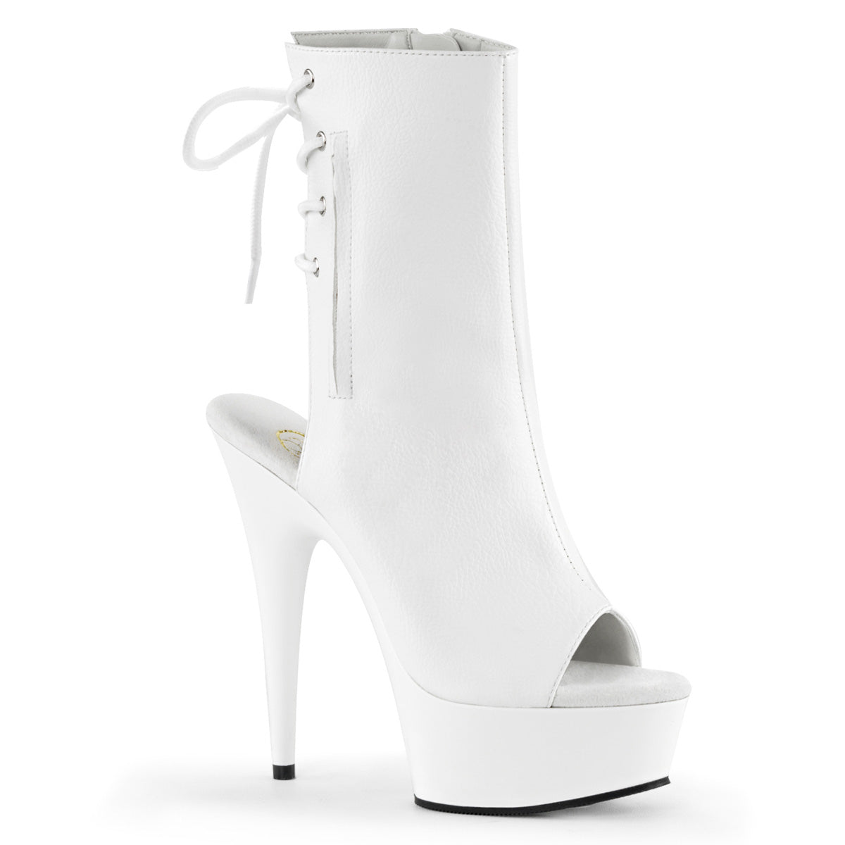 DELIGHT-1018 White Faux Leather/White