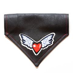 Heart & Wings w/ USA Flag Faux Leather Dog Bandana - Over the Collar Style in 5 Sizes | Free Ship - Hunter K9 Gear