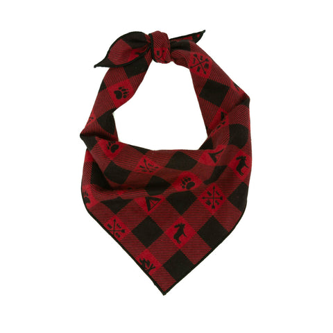 Campfire Flannel Plaid Dog Bandana - Classic Tie Style