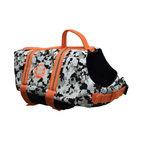 Camo Dog Life Vest with Orange Trim in Neoprene material by Paws Aboard