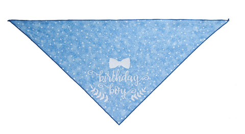 Birthday Boy!  White Stars on Blue Dog Bandana- One Size | Free Ship - Hunter K9 Gear