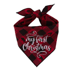 "Soft Red and Black Check Flannel Dog Bandana ties around neck and has glitter vinyl saying ""My First Christmas"" Just Adorable"