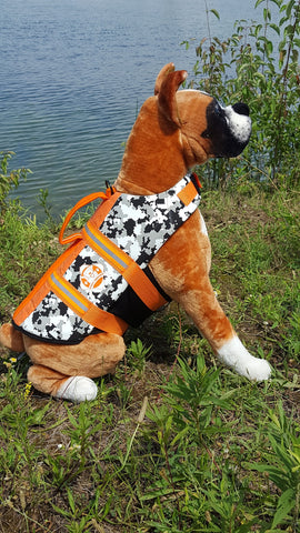 Paws Aboard Camo Black/White Neoprene Pet Life Vest  (Fido Pet) - Hunter K9 Gear