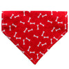 White Bones on Red Paws Dog Bandana - Over the Collar Style in 5 Sizes | Free Ship - Hunter K9 Gear