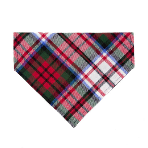 Red Tartan Flannel Plaid Dog Bandana - Over the Collar Style in 5 Sizes | Free Ship - Hunter K9 Gear