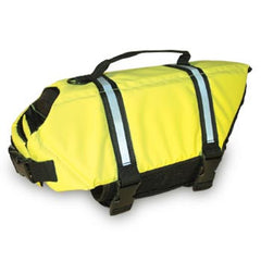 Paws Aboard Dog life vest has adjustable straps, D-Ring and reflective strips, provides buoyancy on the water