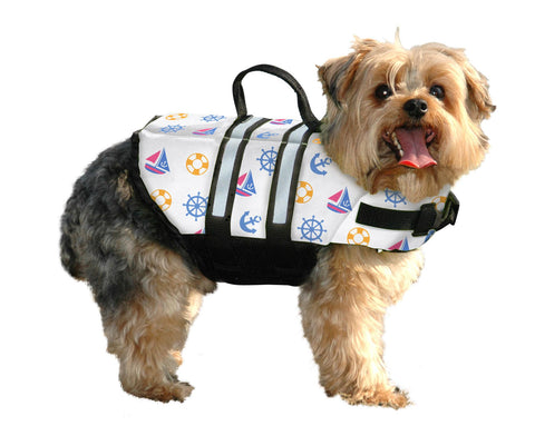 Paws Aboard Nautical Dog Life Vest in Nylon with adjustable straps
