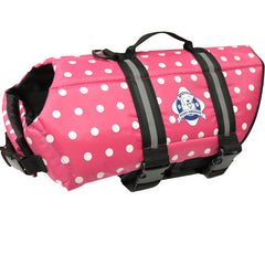 Pink Polka Dot Dog Life Vest by Paws Aboard in sizes XXS to LG