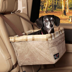Solvit Tagalong Booster Seat - Taupe Plaid - Hunter K9 Gear