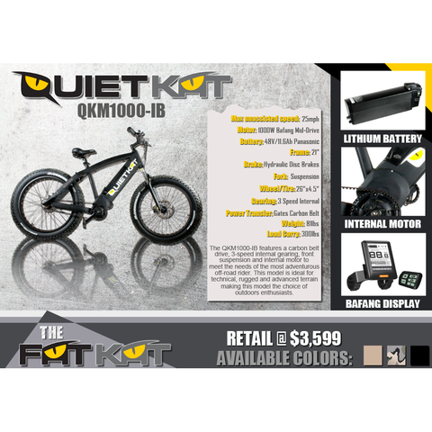 QuietKat FatKat 48V 1000W Internal Motor Carbon Belt Drive Electric Mountain Bike - Black