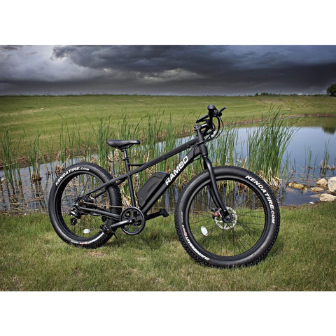 Rambo R500 Matte Black Fat Tire Electric Mountain Bicycle