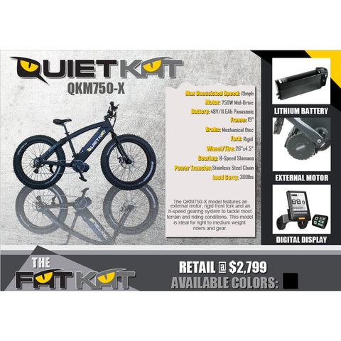 QuietKat FatKat 48V 750W External Motor Chain Drive Electric Mountain Bike