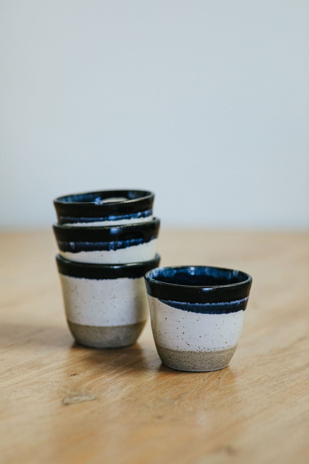 Navy and Black Stripe Espresso Cups