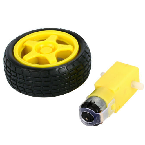 DC Motor 3-6V + Plastic Wheel with Rubber Tire for Smart Car
