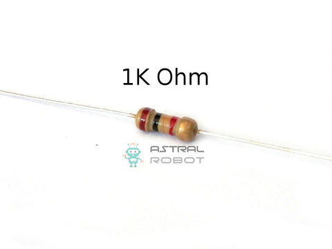 10 PACK Carbon Film Resistors 0.25W, 1/4W 5% 1K Ohms