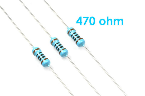 10 Pack Metal Film Resistors 0.25W, 1/4W 1% 470 Ohms