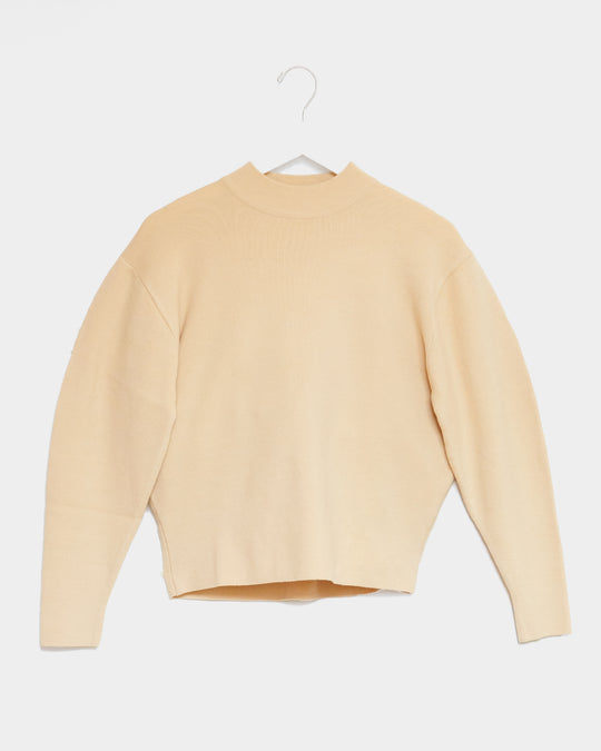 Mock Neck Sweater Top in Butter