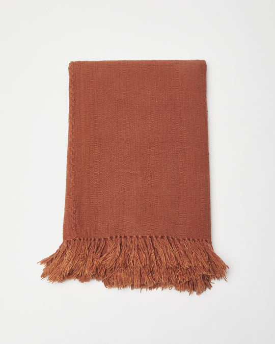 Cotton Throw in Terracotta