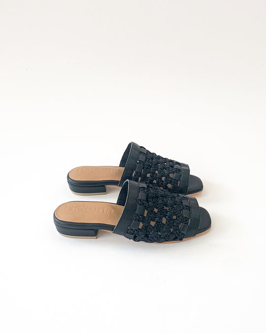 Crocheted Flat Sandal in Black